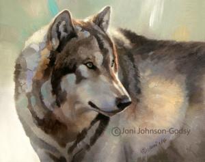 wildlife art oil painting gray wolf